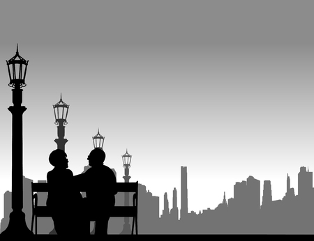 Lovely retired elderly couple sitting on bench on the street, one in the series of similar images silhouette