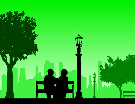 Lovely retired elderly couple sitting on bench in park, one in the series of similar images silhouette.