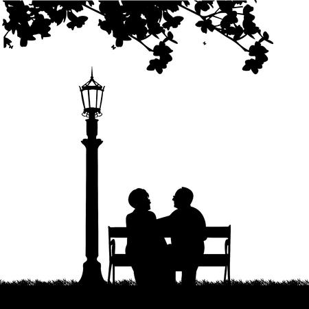 Mooie schakelde bejaarde echtpaar zittend op een bankje in het park of de tuin, een in de reeks van soortgelijke afbeeldingen silhouet. Vector Illustratie