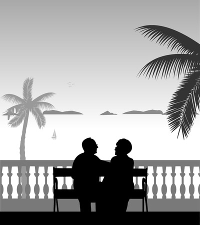 Lovely retired elderly couple sitting on bench on the beach, one in the series of similar images silhouette. Ilustração