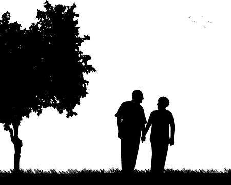 Lovely retired elderly couple walking in the park, one in the series of similar images silhouette. Ilustração