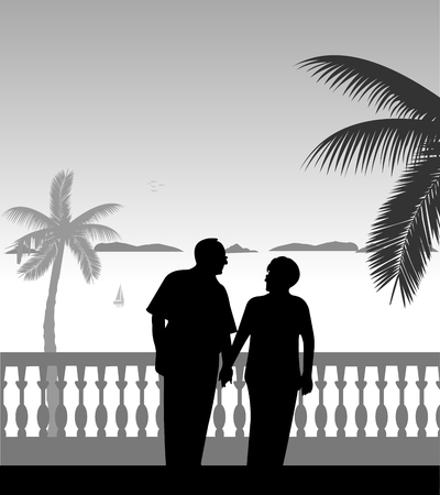 Lovely retired elderly couple walking on the beach, one in the series of similar images silhouette. Ilustração