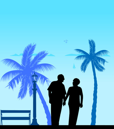 Lovely retired elderly couple walking on the beach, one in the series of similar images silhouette. Banque d'images - 100130349