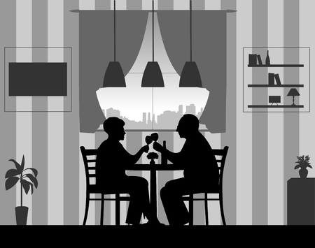 Lovely retired elderly couple drinking glass of wine in the room at home, one in the series of similar images silhouette. Illustration