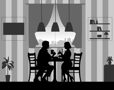 Background with couple and a romantic dinner at home silhouette. Ilustração