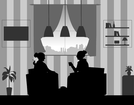 Silhouettes of girls in the room at home smoking cigarettes and drinking coffee.