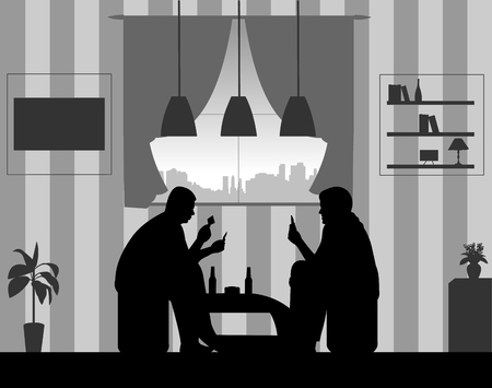Men playing cards and drinking beer for fun in the room at home silhouette. Vectores
