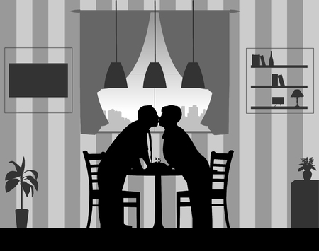 Lovely retired elderly couple and anniversary cake with candles, one in the series of similar images silhouette. Ilustração