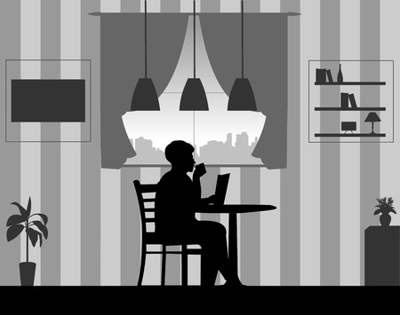 Lovely retired elderly woman drinking cup of coffee and reading newspaper in the room at home, one in the series of similar images silhouette.