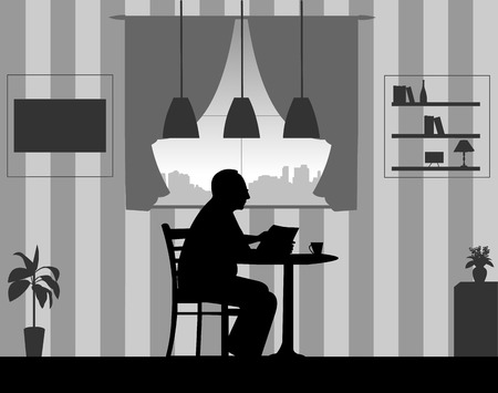 Lovely retired elderly man drinking cup of coffee and reading newspaper in the room at home, one in the series of similar images silhouette.