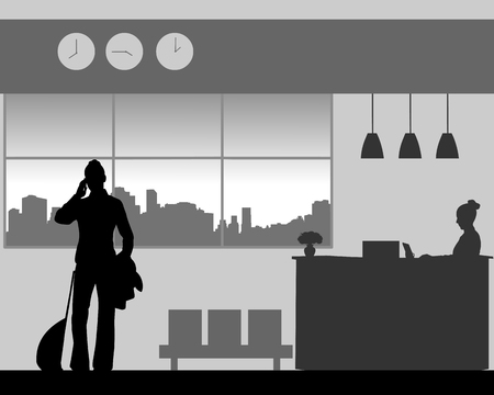 Business woman phones in the lobby template