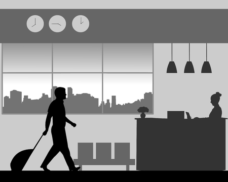 A business man is coming to the hotel reception desk, one in the series of similar images silhouette.