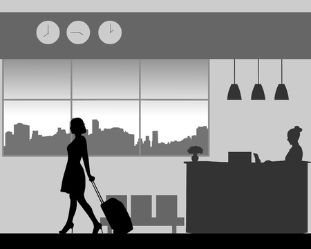 A business woman leaves the hotel with luggage, one in the series of similar images silhouette. Ilustração
