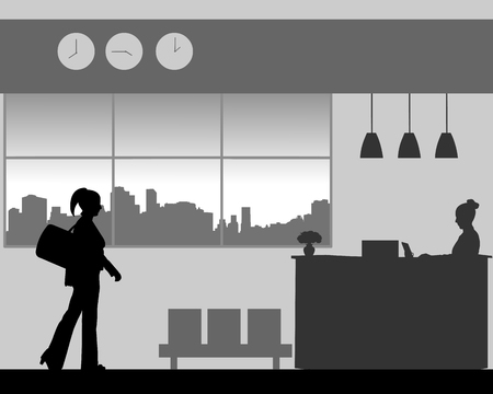 A business woman is coming to the hotel reception desk, one in the series of similar images silhouette.