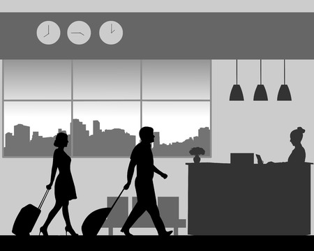 A businessman and businesswoman are coming to the hotel reception desk, one in the series of similar images silhouette.