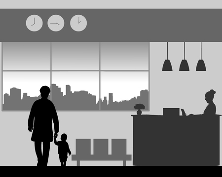 Grandmother with a grandchild walk in the lobby of the hotel, one in the series of similar images silhouette Illustration