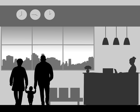 Grandparent with a grandchild in the lobby of the hotel, one in the series of similar images silhouette