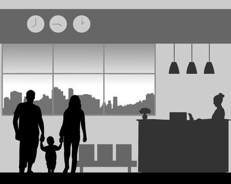 Parent with a child walk in the lobby of the hotel, one in the series of similar images silhouette Ilustração