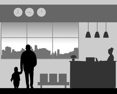 Grandfather with a grandchild walk in the lobby of the hotel, one in the series of similar images silhouette Ilustração