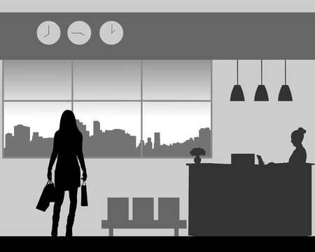 The girl returns to the hotel from shopping with shopping bags, one in the series of similar images silhouette Ilustração