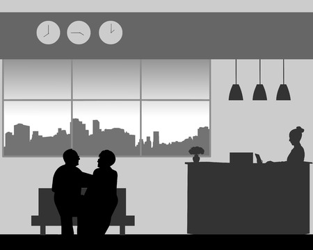 Lovely elderly couple walk in the lobby of the hotel, one in the series of similar images silhouette Ilustração