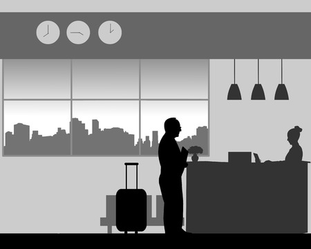A elderly man check in or check out at the hotel reception, one in the series of similar images silhouette