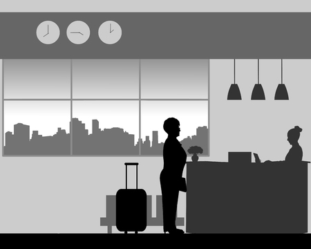 A elderly woman check in or check out at the hotel reception, one in the series of similar images silhouette