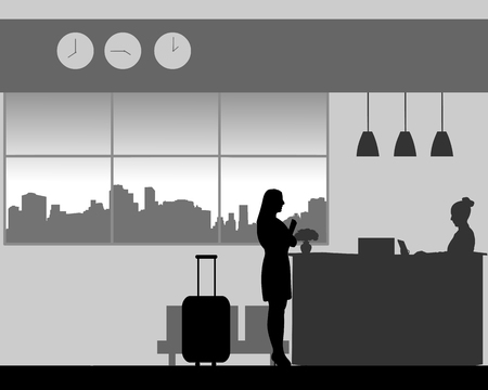 A woman check in or check out at the hotel reception, one in the series of similar images silhouette Ilustração