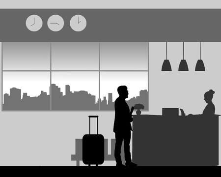 A man check in or check out at the hotel reception, one in the series of similar images silhouette