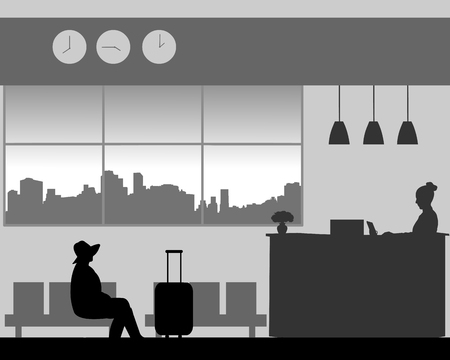 The girl with hat sits in the lobby of the hotel and waits silhouette