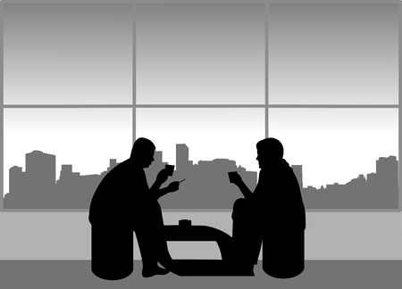 The guys are busy on the break drinking coffee and smoking cigarettes in the smoking area, one in the series of similar images silhouette Ilustração