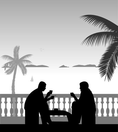Silhouettes of guys at balcony on the beach smoking cigarettes and drinking coffee, one in the series of similar images