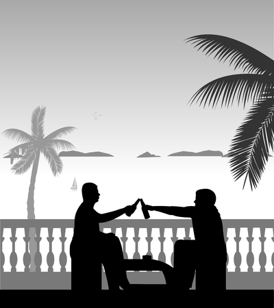 Guys drink beer in leisure time at balcony on the beach, one in the series of similar images silhouette Ilustração