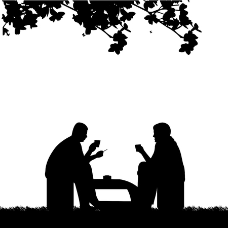 Silhouettes of guys in backyard smoking cigarettes and drinking coffee, one in the series of similar images Ilustração