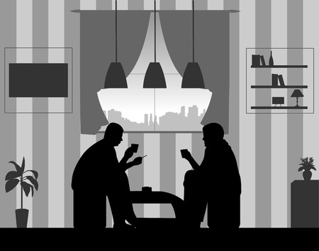 Silhouettes of guys in the room at home smoking cigarettes and drinking coffee, one in the series of similar images Ilustração