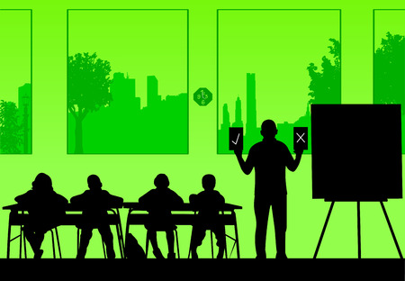 Elderly school teacher teaches the students and offers them a choice between correct or incorrect answer, one in the series of similar images silhouette Ilustração