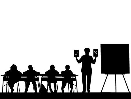 Elderly school teacher teaches the students and offers them a choice between correct or incorrect answer, one in the series of similar images silhouette Illustration