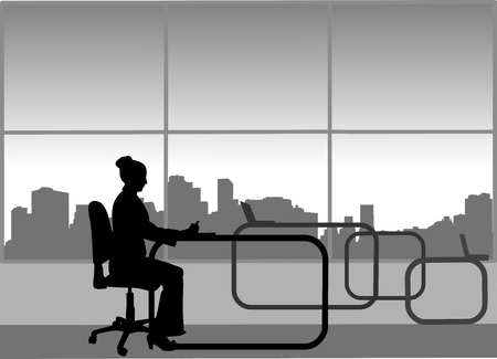 Young sexy businesswoman work on computer in her office, one in the series of similar images silhouette Ilustração