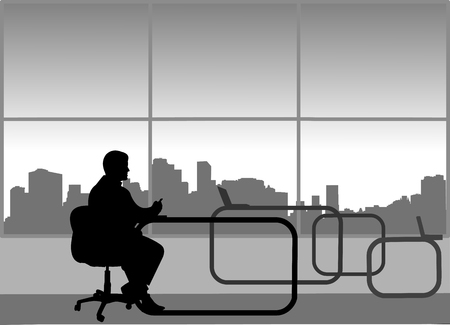 Young sexy businessman work on computer in his office, one in the series of similar images silhouette