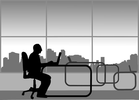 Elderly businessman work on computer in his office, one in the series of similar images silhouette Ilustração