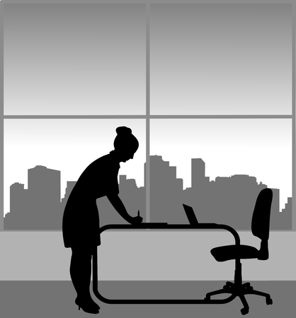 A young business woman signs a document in her office, one in the series of similar images silhouette