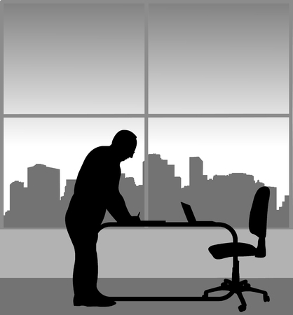 A elderly business man signs a document in his office, one in the series of similar images silhouette