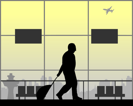 A elderly business man goes to a business trip, one in the series of similar images silhouette