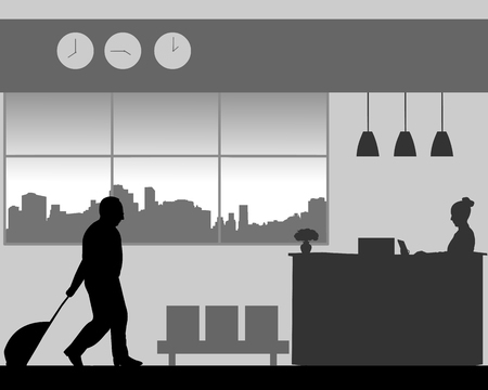 A elderly business man is coming to the hotel reception desk, one in the series of similar images silhouette