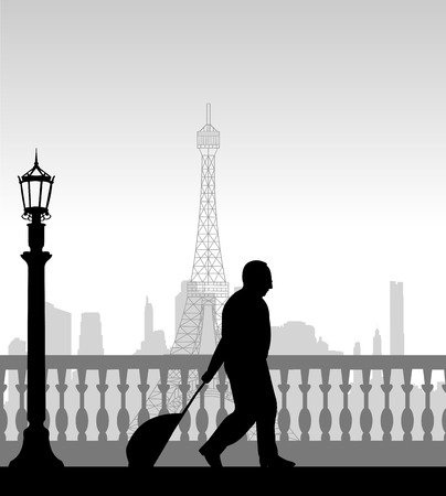 A elderly business man traveling on business trip in Paris and passes in front of Eiffel tower,  one in the series of similar images silhouette Ilustração