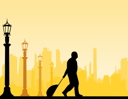 A elderly businessman traveling on business trip, one in the series of similar images silhouette