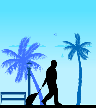 A elderly man travels to a destination and pulls the suitcase, one in the series of similar images silhouette Ilustração