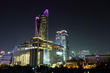 Bangkok city buildings at night thailand