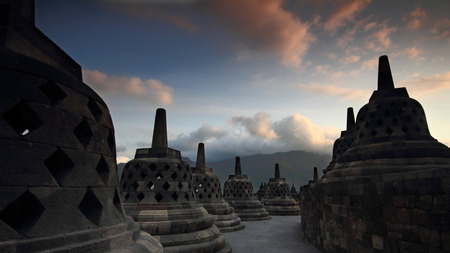 Stupa in Borobudur, Indonesia photo