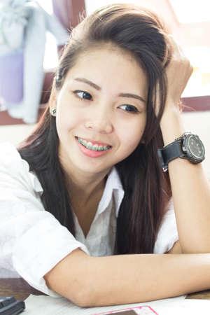 woman white shirt: thai Woman White Shirt smile Stock Photo